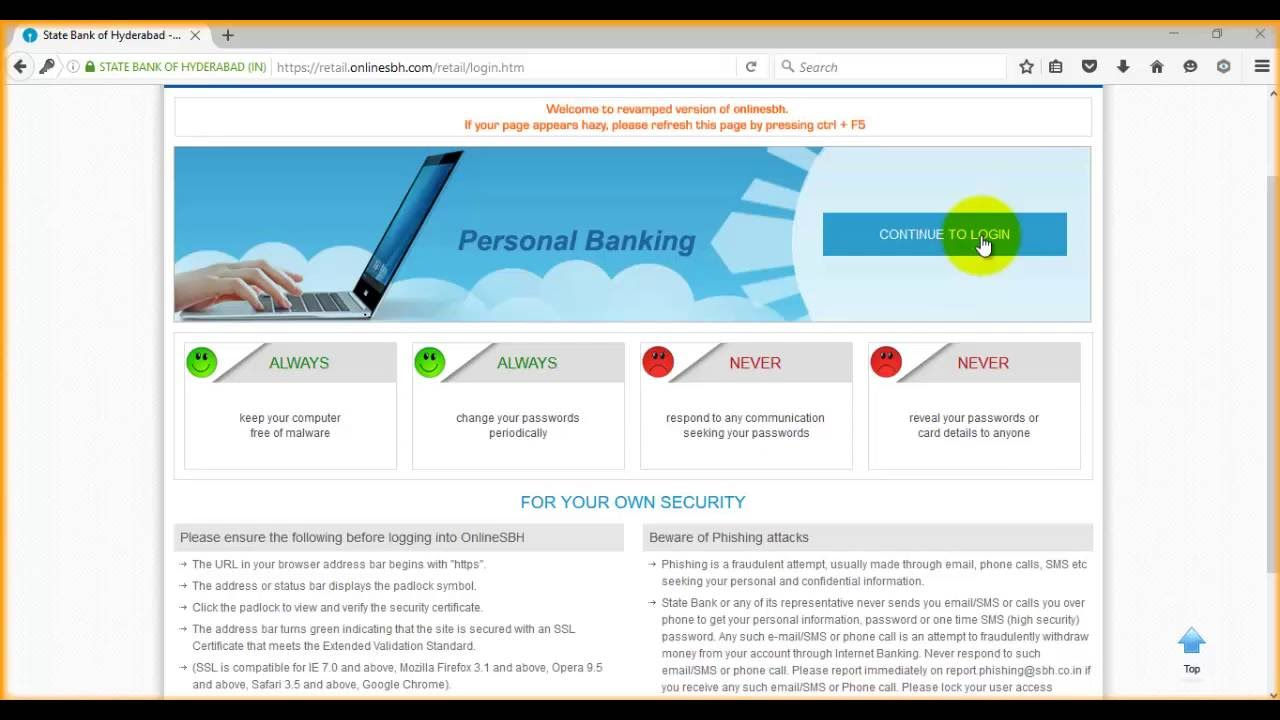 onlinesbh com personal banking