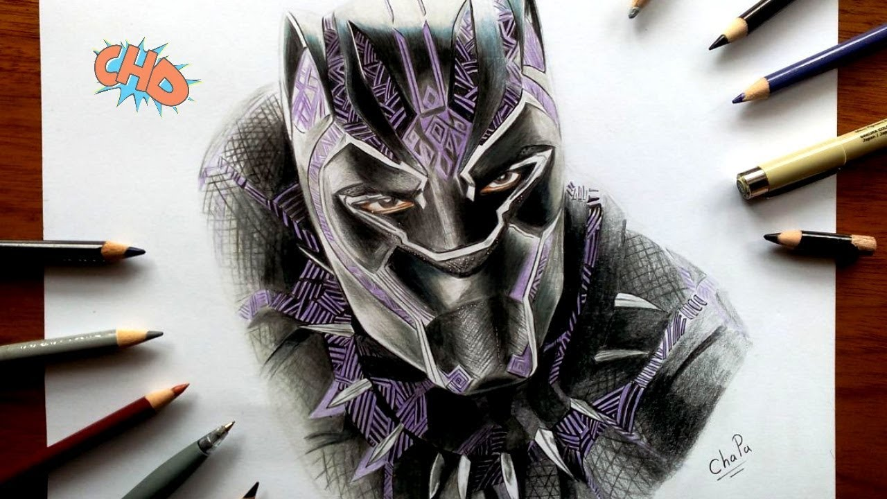 Como Dibujo A PANTERA NEGRA / Drawing BLACK PANTHER