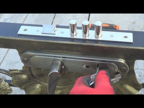 Как установить замок на калитку из профильной трубы