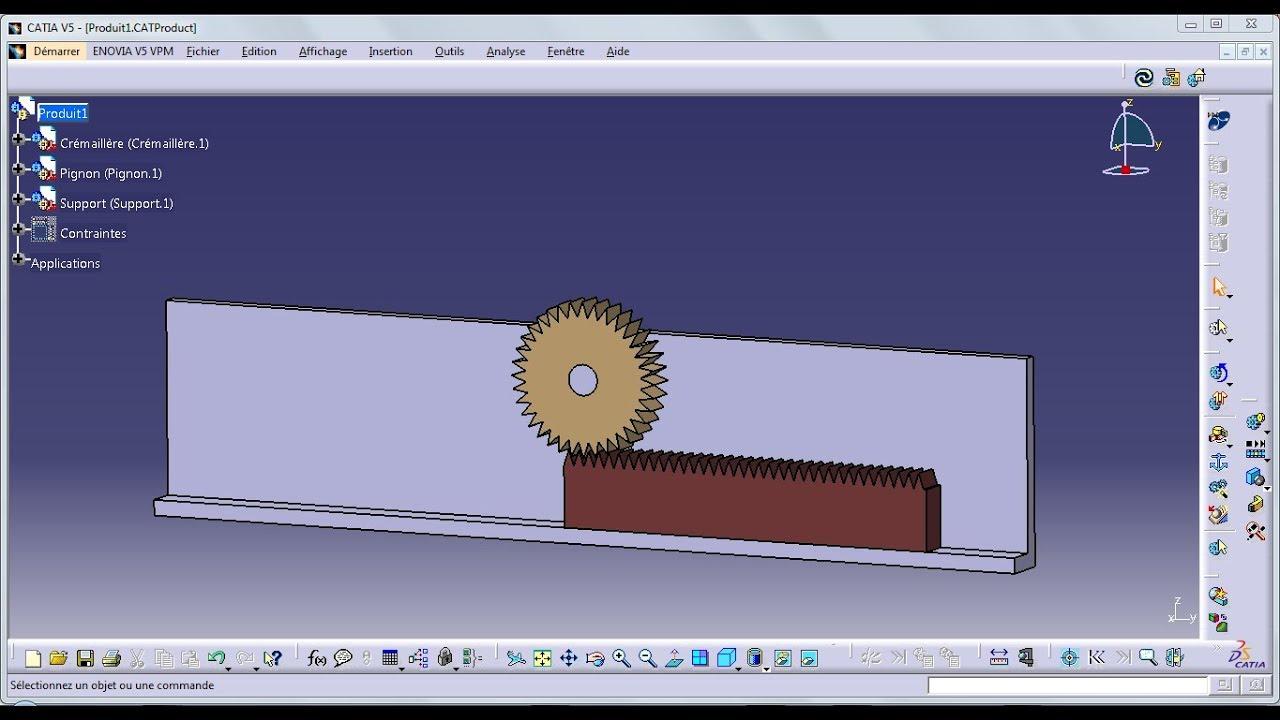 Système Pignon Crémaillère Part Design Avec Catia V5 Rack And Pinion