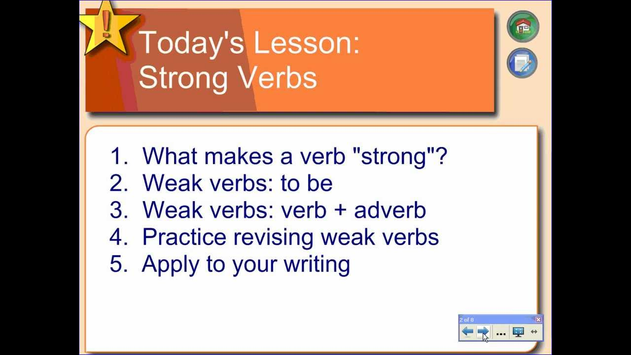 list of strong verbs for essays