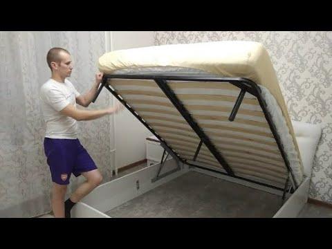 Установка механизма подъема с газлифтами на кровать