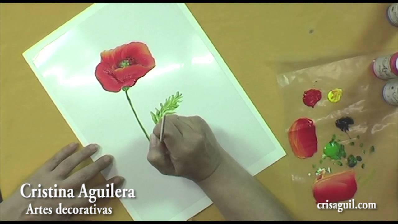 Pintar flores , amapolas , painting poppies - YouTube