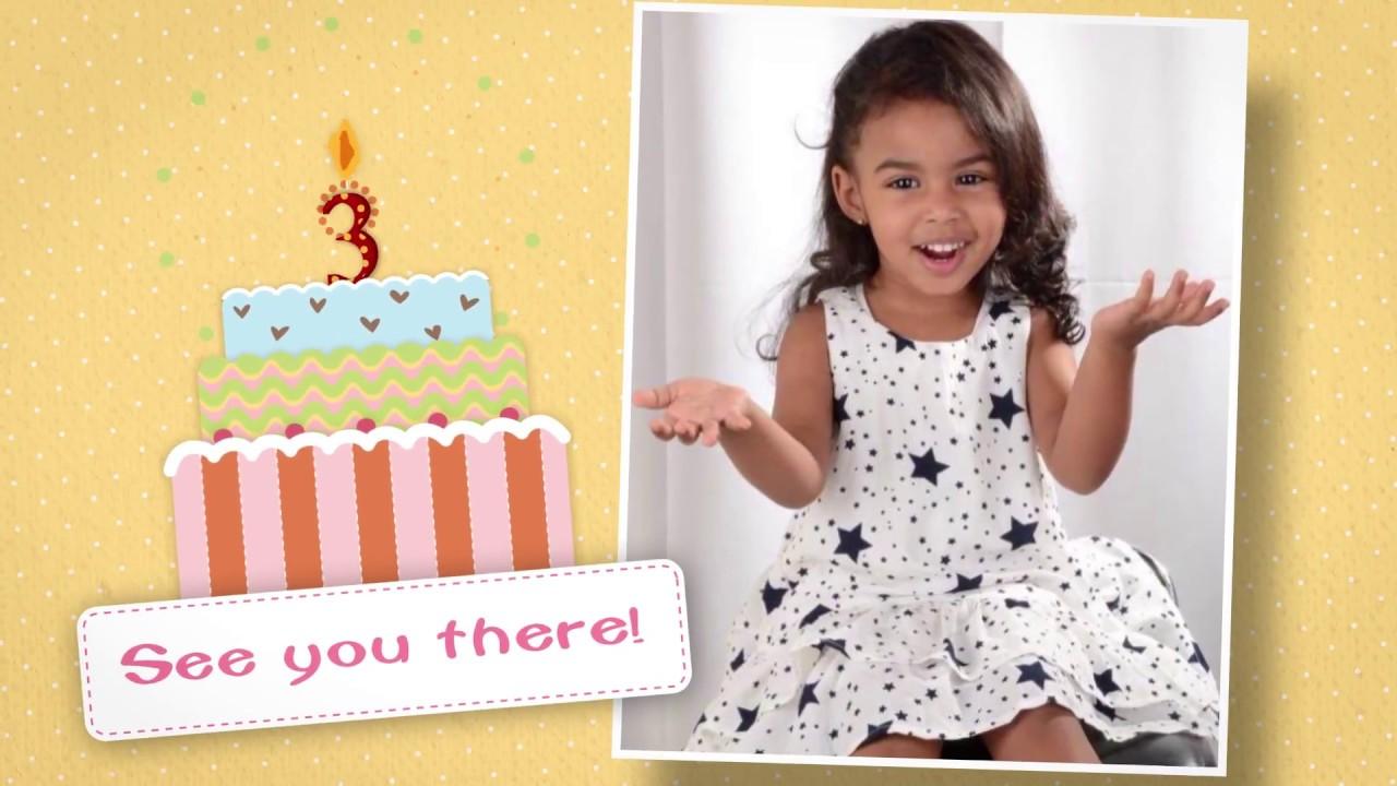 thalia s 3rd birthday invitation youtube
