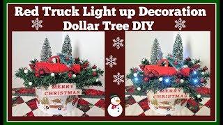 Light Up Red Truck Decoration 🎄 Dollar Tree DIY
