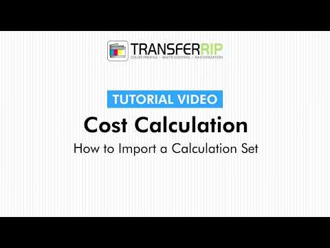 TransferRIP Part 4 - #4   How to Import a Calculation Set - Cost Calculation