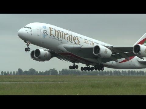 A380 Emirates Airbus A380-800 A6-EDJ takeoff from Schiphol Amsterdam RWY 36L Polderbaan