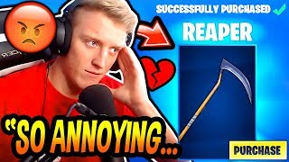 "Tfue BUYS & HATES His *RARE* ""REAPER"" SCYTHE PICKAXE! (SKULL TROOPER AXE) Fortnite FUNNY Moments"