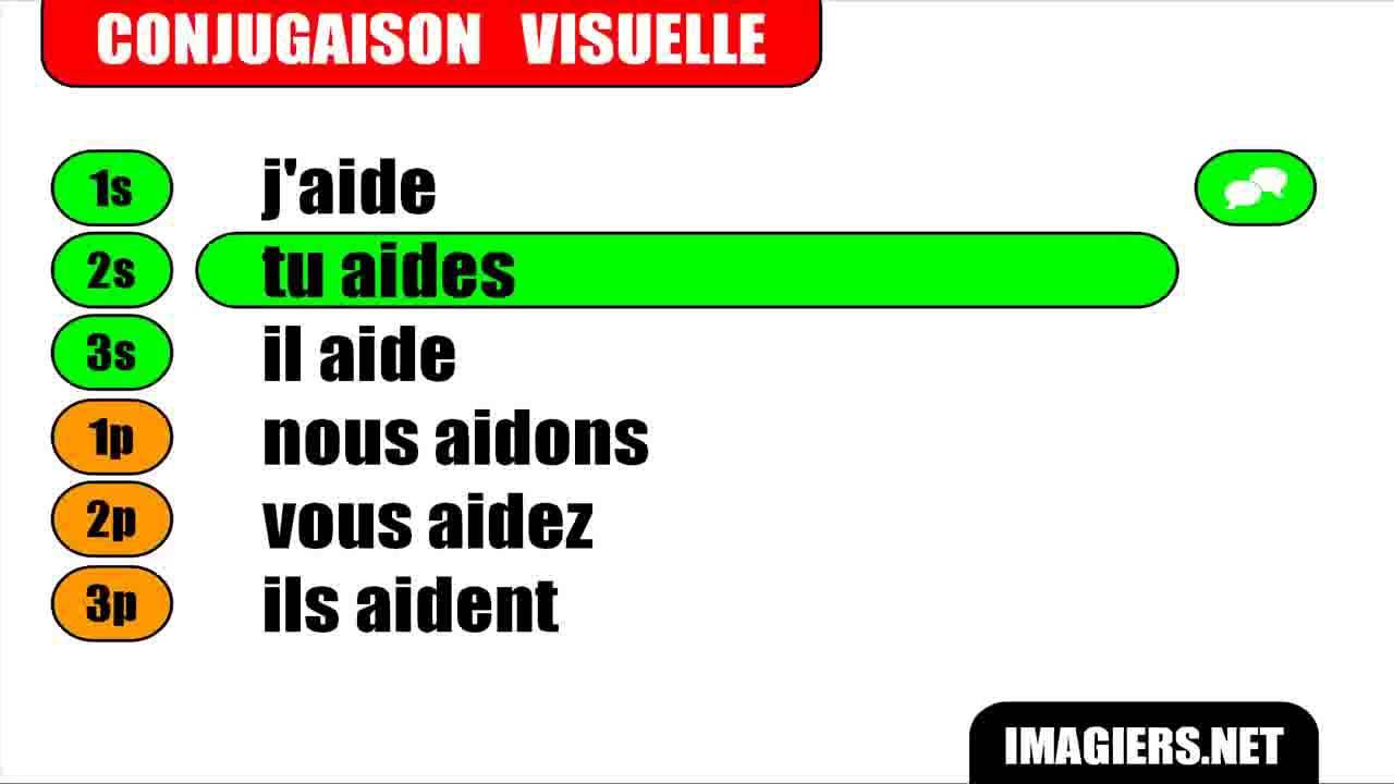 Conjugaison Indicatif Present Verbe Aider Youtube
