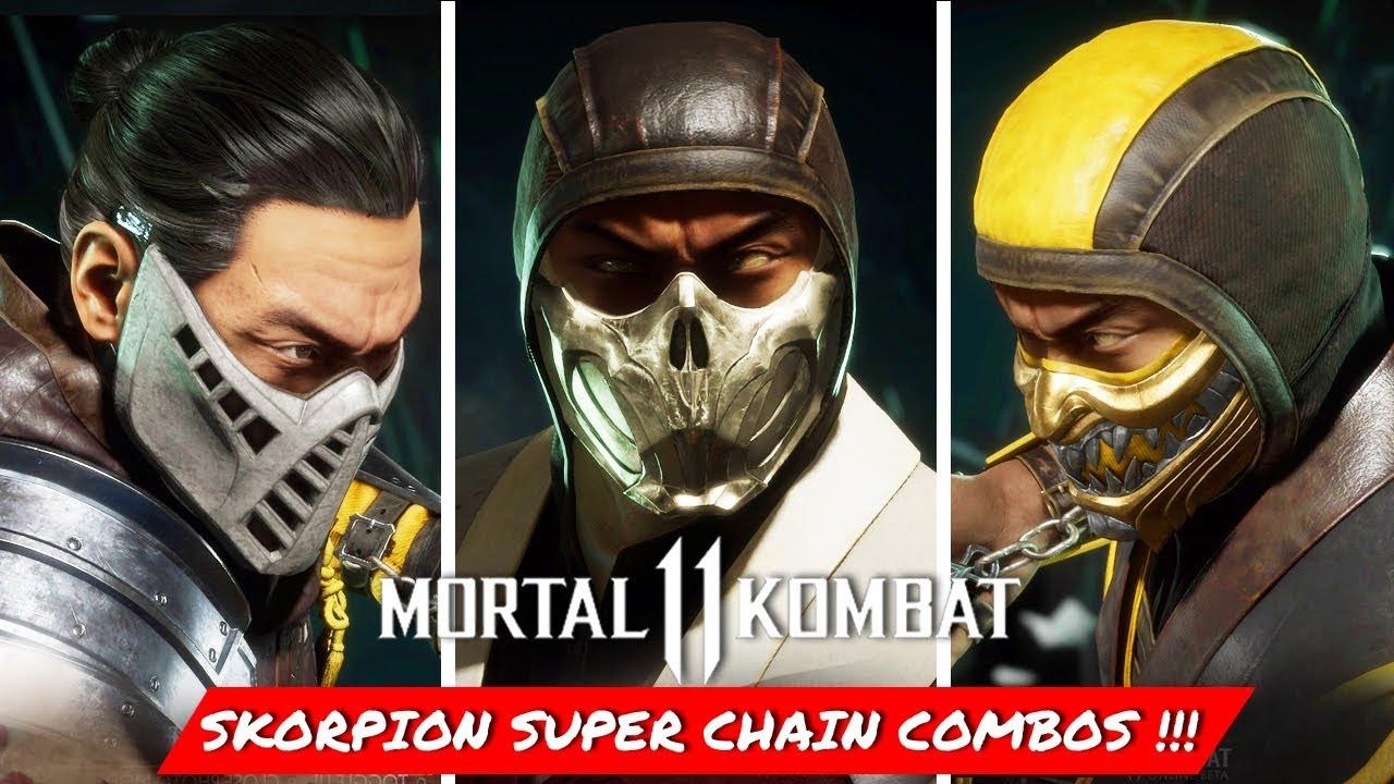 Mortal Kombat 11 Scorpion Super Chain Combos Youtube