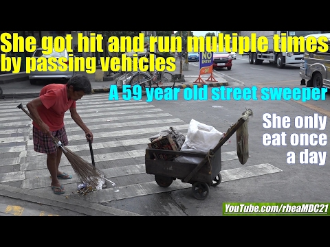 Travel to Manila Philippines and Meet this Poor Old Lady Who Works as a Street Sweeper. Poverty