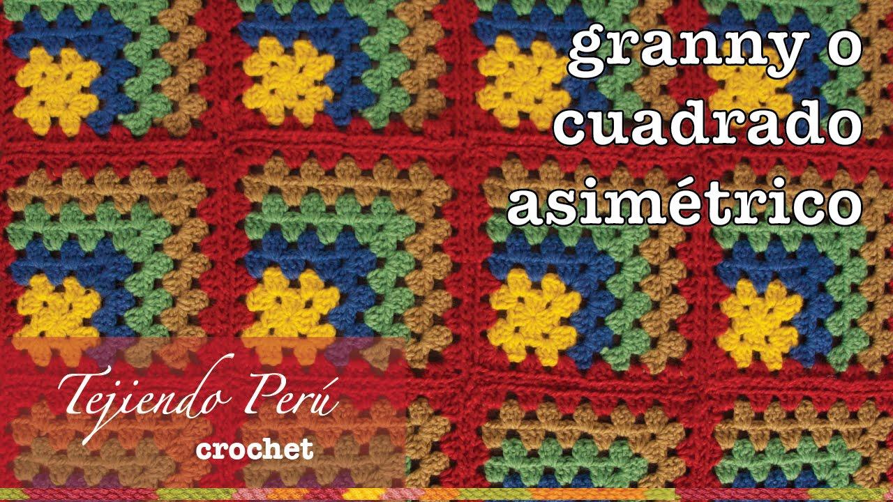 Granny square o cuadrado asimétrico tejido a crochet en varios ...