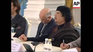 WRAP Gadhafi meets with Medvedev, Gadhafi hosts Putin in Bedouin tent