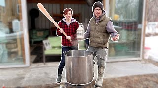 Making Maple Syrup 11 GALLONS of SAP to MAPLE SYRUP in 2 HOURS in Our BackYard FARM (organic)