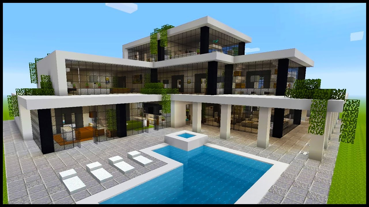 Minecraft: How to Build a Modern Mansion  PART 9