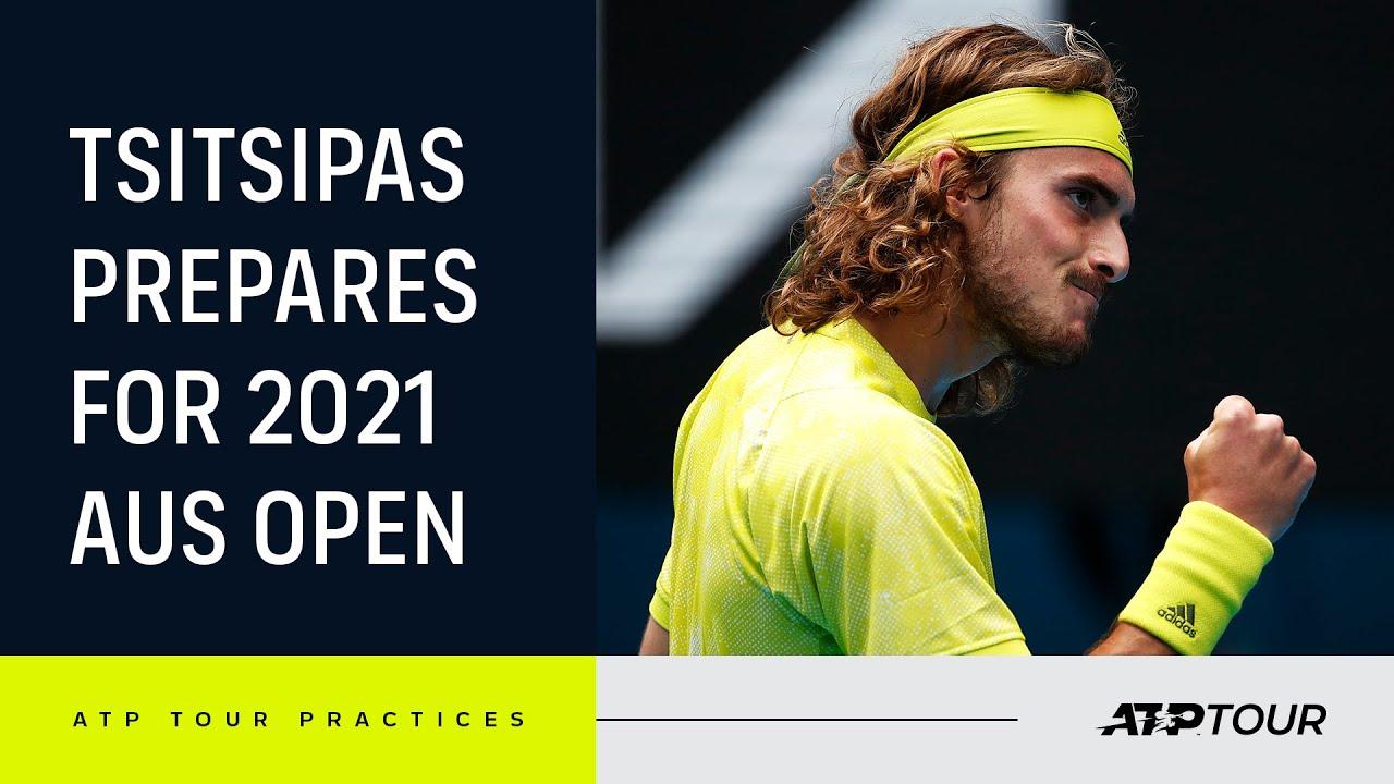 Stefanos Tsitsipas LIVE PRACTICE At Australian Open