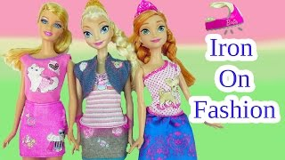 Barbie Iron-On Style Fashions Disney Queen Elsa Princess Anna Frozen Dolls Designs Play