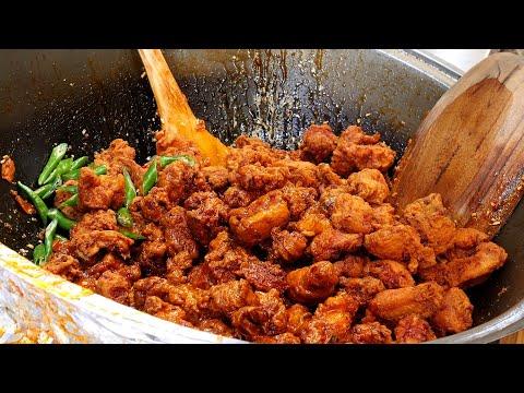double fried chicken - seasoned spicy chicken / korean street food
