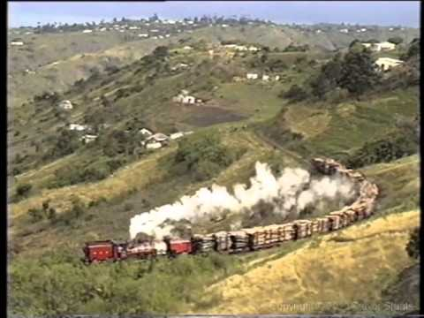 South African Steam: Alfred County Railway NGG16A Garratt hauling timber
