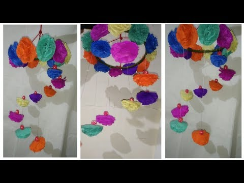 Diy easy wind chimes from crepe marigold flower ||Home decoration idea||