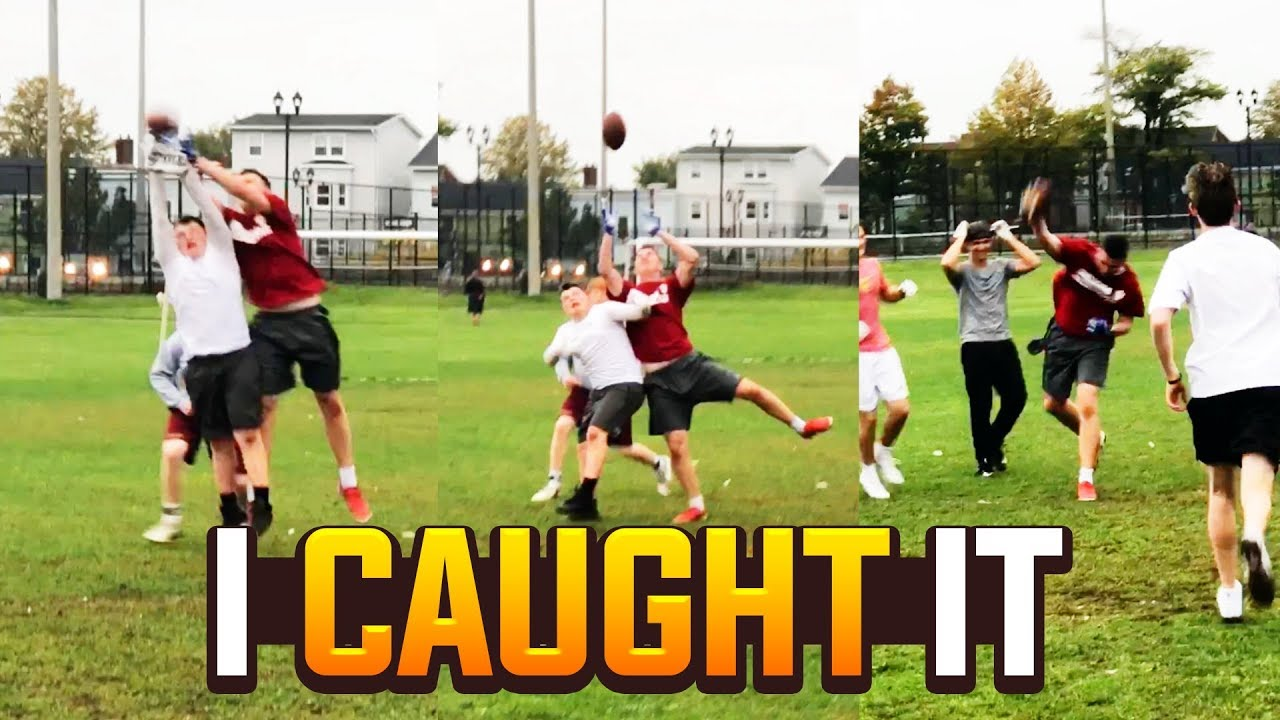 CRAZY ONE HANDED CATCH ENDS GAME! IRL Football #2