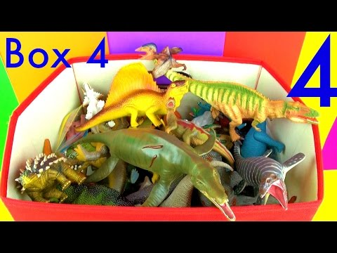 DINOSAUR Box 4 KidsToy Collection Jurassic World T rex Mosasaurus Velociraptor Toy Review in English