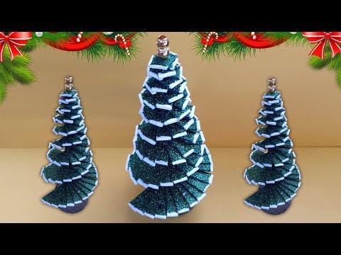 DIY Christmas Tree Decor, How to Make Mini Tabletop Trees, Handmade Glitter Foam Sheet Craft Ideas