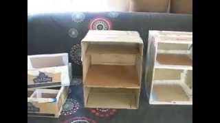 Картонные полки и комодик из коробки от порошка.