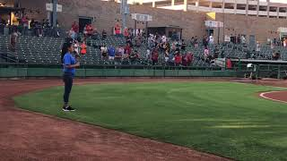 Angelina Tamaray Niessner singing the National Anthem @ Stockton Ports Aug 10, 2018