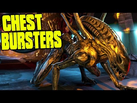 CATCHING BABY XENOS AS THEY CHEST BURST - (Aliens : Colonial Marines Gameplay)