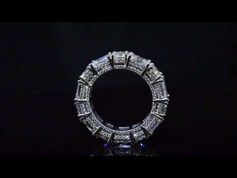 Radiant And Round Cut Diamond Eternity Ring Prong And Micro Pave Side View