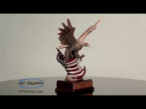 Eagle Statue With Rustic American Flag & Free Engraving RFB138