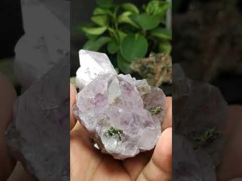 [友克鑫礦業]86超七原礦三輪骨幹晶簇金字塔金屬光澤內包體紫骨幹水晶