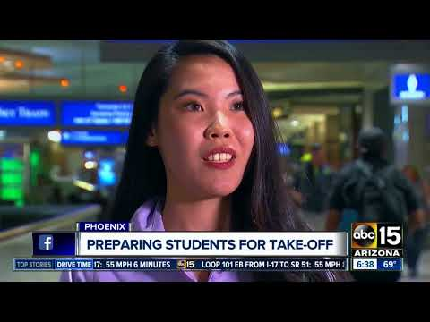 International students training at Sky Harbor information counters