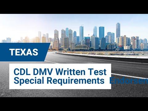 2020 Texas CDL DMV Written Test - Special Requirements  Endorsement #1