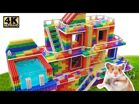 build-most-beautiful-mansion-swimming-pool-from-magnetic-balls-(satisfying)-|-magnet-world-series