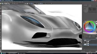 Sketching a car   graphics tablet speed drawing