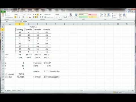 Excel - One-Way ANOVA Manual