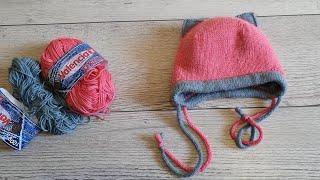 Двойная детская шапка.Шапка с анатомическими ушками. Котошапка спицами. CAT HAT