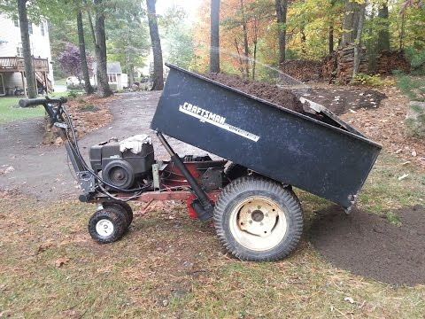 Home made power wheelbarrow / self propelled lawn cart NOW with power lift