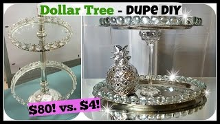 DOLLAR TREE DIY Home Decor DUPE | 2 Tiered Tray Stand Glam Easy Craft