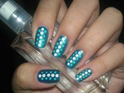 nail design tutorial aqua nails