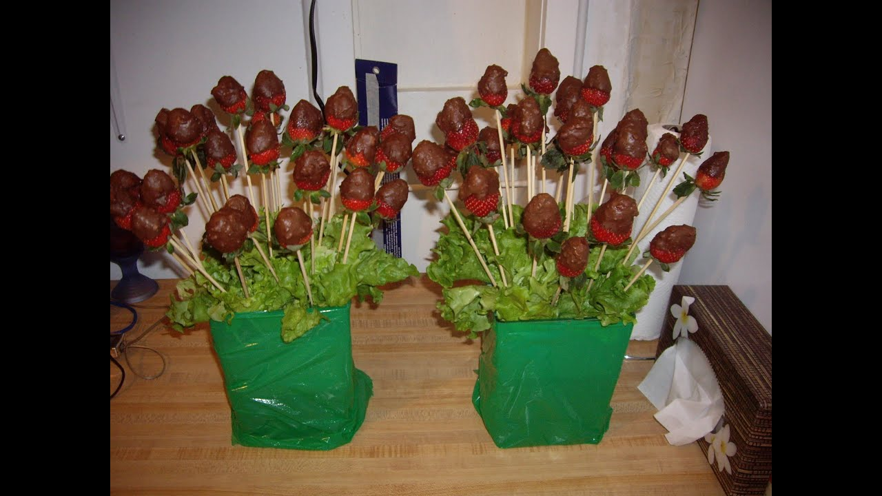 Dipped Chocolate Strawberry Bouquet - Binh Hoa voi Dau Nhung So Co ...