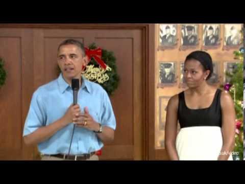 Obama visits troops in Hawaii