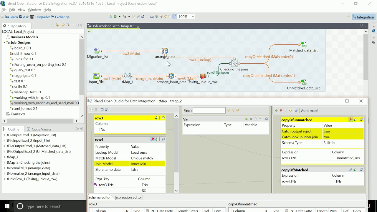 working with tMap in Talend