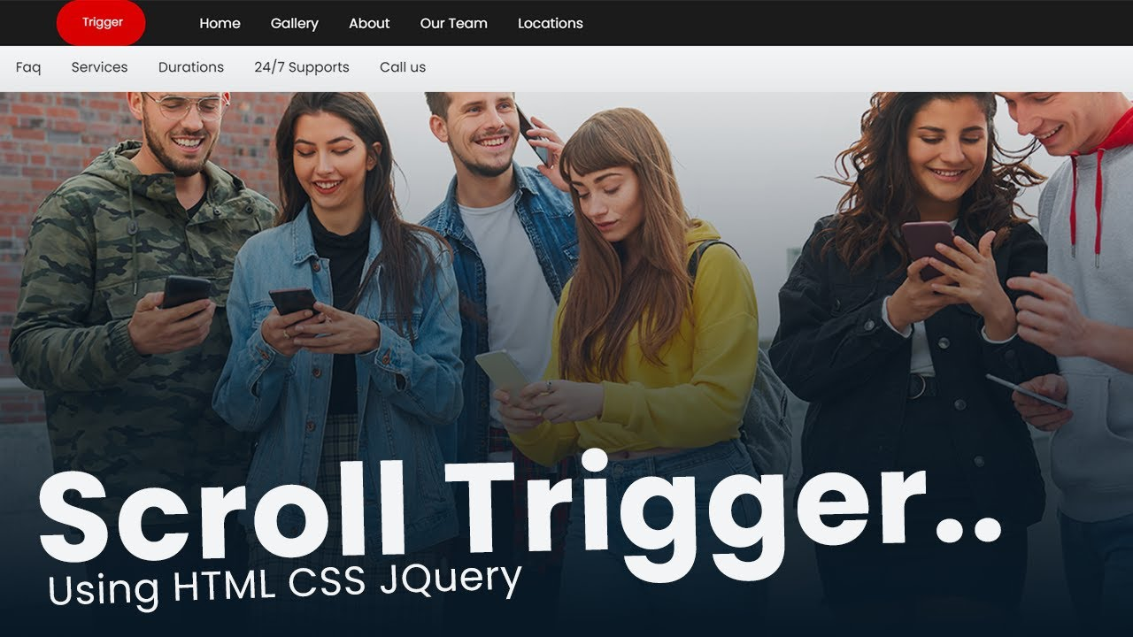 Scroll Trigger Effect For Navigation bar using HTML CSS JQuery
