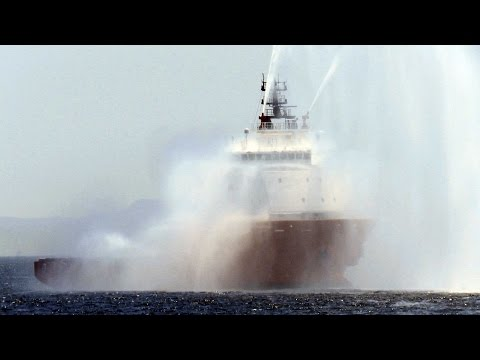 PACIFIC GREYLAG オフショア船 海上公試 放水試験