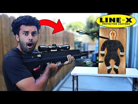 Spraying LINE-X ON A 100% UNBREAKABLE TOY (STRETCH ARMSTRONG!!) BULLET PROOF!! *WE MADE A MONSTER*