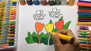 Learn Colors with Flowers and Bees, How to Draw Flowers and Bees