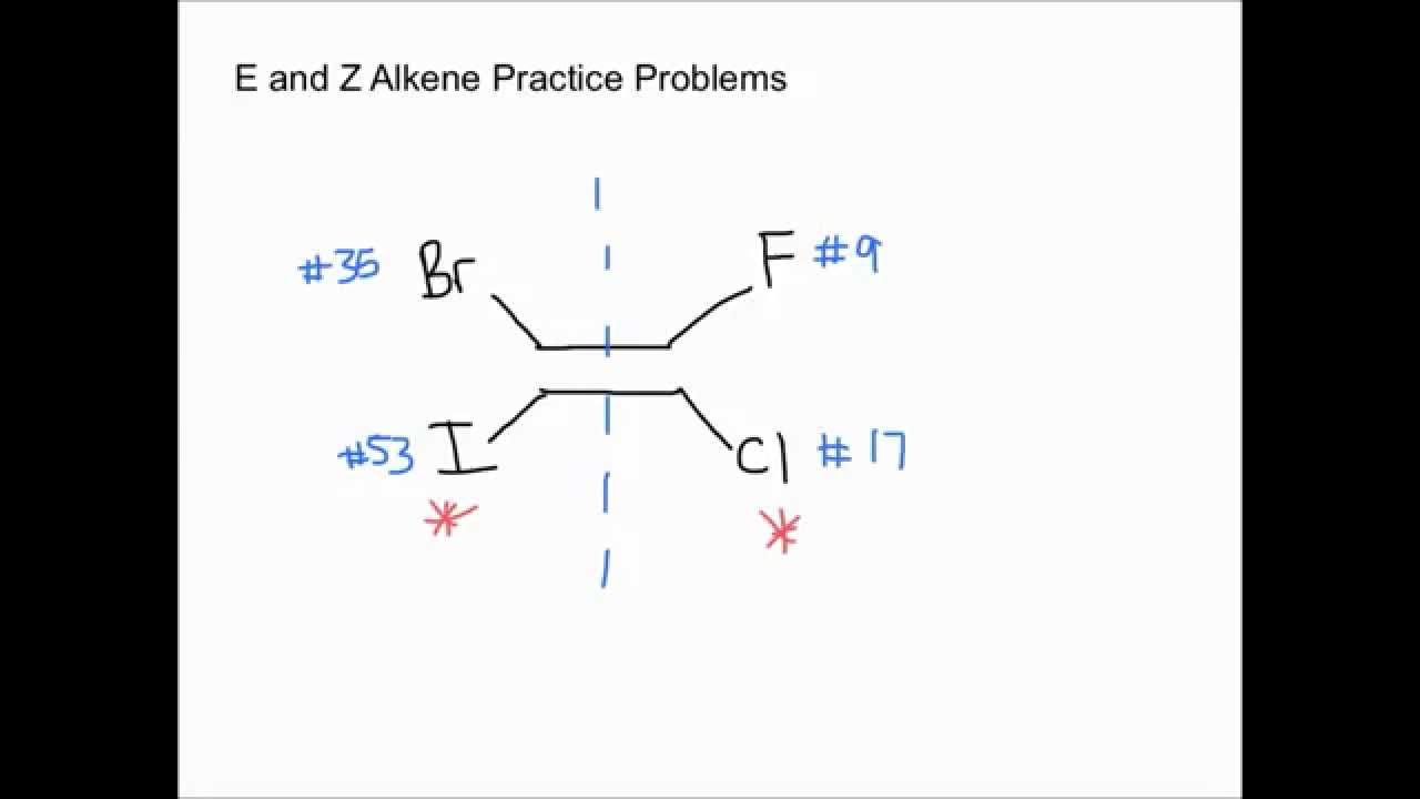 E and Z Alkene Practice Problems